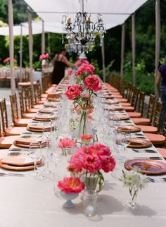 I love banquet style seating for a reception. Moreover I love these simple DIY center pieces. Definitely a must!