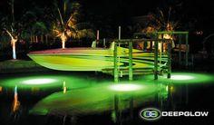 Underwater Dock Lights Attract the Fish - Deep Glow Underwater Lighting Speed Boats, Power Boats, Dock Lighting, Floating Dock, Underwater Lights, Attraction, Glow, Fishing Stuff, Deep