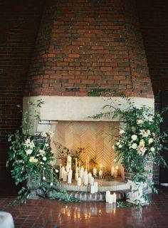 everyday floral arrangements for large firelplace mantel Wedding Reception Flowers, Wedding Reception Decorations, Wedding Ceremony, Wedding Fireplace Decorations, Wedding Ideas, Botanical Wedding, Floral Wedding, Wedding Mantle, Candles In Fireplace