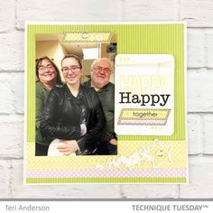 Happy Happy Together Scrapbook Page created with Happy Happy Happy stamps from Technique Tuesday. // TechniqueTuesday.com