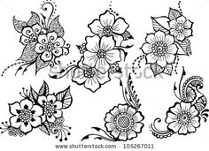 set of six black vector flowers by Giraffy, via ShutterStock - Alexa Tabor - - set of six black vector flowers by Giraffy, via ShutterStock - Alexa Tabor Henna Tattoo Designs, Flower Tattoo Designs, Mehndi Designs, Flor Henna, Henna Art, Flower Line Drawings, Butterfly Drawing, Henna Patterns, Zentangle Patterns