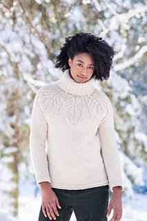 "A top-down Quarry yoke patterned with large leaves makes a deeply satisfying knit and a cozy garment that will become a winter favorite. The cabled motif smoothly incorporates some of the yoke increases within the structure of the ""veins,"" so read the chart closely. Subtle details — unusual hem and cuff treatments combining rib and stockinette; tiny reversible cables carried up from the yoke design into the ribbed turtleneck at the center front — strike just the right notes. Tundra is…"
