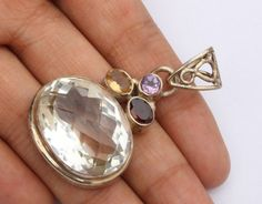 Natural Crystal Quartz 925 Solid Sterling Silver Oval Gemstone Pendant GCP35 #Unbranded #Pendant