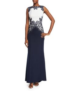 Sleeveless+Embroidered+Colorblock+Gown,+Royal+Navy/White+by+Tadashi+Shoji+at+Neiman+Marcus.