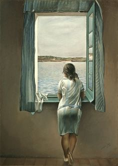 For whom does she watch,   as she stands her watch.  Staring at grey leaden sky and sea  does she wonder where her lover be?  Is his boat late to return,  does her heart quiver as the sea water churns?       Salvador Dali- Woman at the Window (muchacha en la ventana)  From: Tamara Lynch