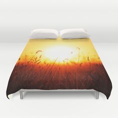 Good morning sunshine Duvet Cover by Pirmin Nohr - $99.00 Rising sun over a meadow on a foggy morning   Nature, autumn, grass, orange, shine, light, landscape