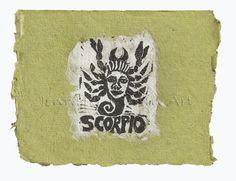 Scorpio card, lino print on handmade paper by Jennifer Kunin www.etsy.com/shop/JenniferKuninStudio