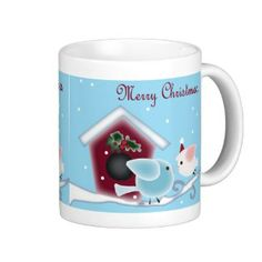 Cute Christmas Kissing Birds under mistletoe Mugs