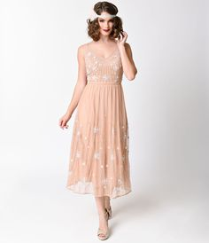 1930s Style Day Dresses Vintage Style Deep Peach Hand Beaded Tiarna Midi Skater Gown $178.00 AT vintagedancer.com