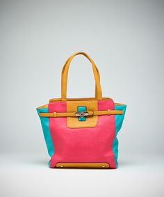 Totes In Love Colorblock Tote - Fuchsia and Turquoise