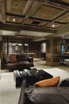 Beautiful basement. My basement is just going to be a video game room, but it would be awesome if it was like this.