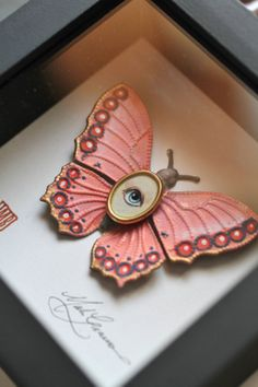 Cabinet of Curiosities Specimen no. 53 - The Candy Pink Moth Eye Fly - original 3D insect painting by Mab Graves