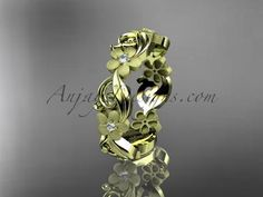 14kt yellow gold diamond flower wedding ring, engagement ring, wedding band. ADLR191