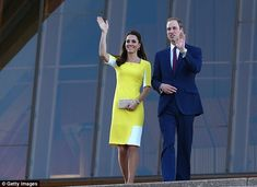 Hello, Sydney! The Duke and Duchess of Cambridge walk down the stairs of the Sydney Opera House as screaming fans wait for their arrival