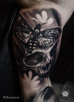Skull with moths tattoo - 100 Awesome Skull Tattoo Designs <3 <3