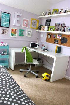 Desk, shelving, cart, bulletin board, Es...forever*cottage: A room update for my high school girl....
