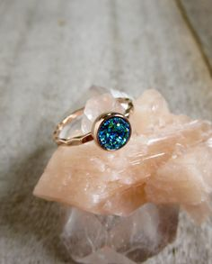 Tiny Rose Gold Druzy Ring Blue Green Druzy Ring by julianneblumlo