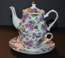 GRACES TEAWARE WHITE WITH PURPLE VIOLETS TEA FOR ONE TEA POT CUP & SAUCER