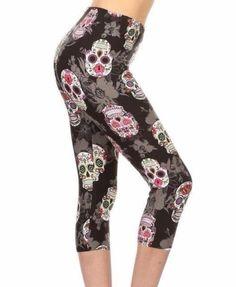 bb872337678ac Details about PLUS SIZE CAPRI Womens Black Skull Mandala Punk Gothic Leggings  Print Soft 12-18