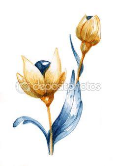 Акварель изолированных Фотография абстрактная цветок — Стоковое фото © ovacia #98647230
