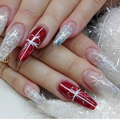 Red,glitter,silver,coffin nails