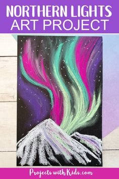 Northern Lights Art Project Learn about layering and blending pastels with this gorgeous northern lights chalk pastel art project! A beautiful winter art project kids will love creating. Chalk Pastel Art, Oil Pastel Art, Chalk Pastels, Chalk Art, September Art, Winter Art Projects, Art Projects For Teens, Light Art Installation, Northern Lights