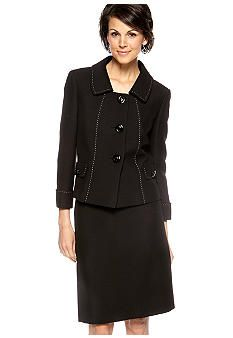 Tahari ASL Crinkle Novelty Skirt Suit