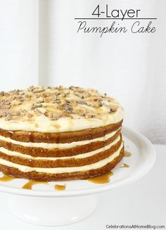 This luscious 4-layer pumpkin cake is one of our favorite desserts for the holiday season, making a beautiful presentation with layers of cake and cream.  #DiamondCrystalSalt