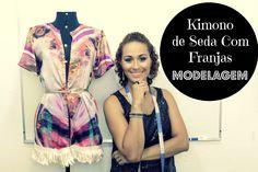 Kimono de Seda Com Franjas MODELAGEM