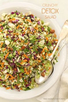 This beautiful looking salad recipe is not only delicious but also full of nutrients-- loaded with broccoli, cauliflower, parsley, carrots, raisins, sunflower seeds and much more. Must check out!