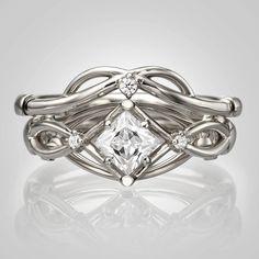 941219c7e8bb3e Celtic Wedding Set, Platinum Diamond Bridal Set, Bridal Set, Unique  engagement ring, Knot wedding set, celtic ring, Princess cut diamond, 9