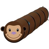 Collapsible Tunnel Monkey will bring hours of enjoyment and fun to your child.  Measures 6 feet long with a 20 inch diameter to accommodate larger kids.  Monkey's face can be attached and detached. Wash with soap and Water.  Fun indoors and out. Recommended age:  3 years and up