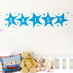These big colourful name wall stickers in funky stars will brighten your child's room!  The letter colour shown in the image is Ocean Blue, although this product is available in our full range of colours. Dimensions: 20cm high x 20cm per large star (approx)