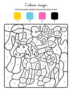 The fields with the number 1 turn yellow, the fields with the number 2 light blue, those with the number . Crayola Coloring Pages, Colouring Pages, Coloring Books, Dot To Dot Printables, Numbers For Kids, Number Games, Color By Numbers, Create And Craft, Coloring For Kids