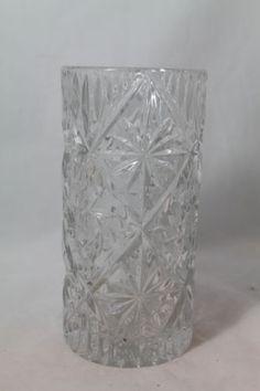 "Cut Glass Hobstar Pinwheel Heavy Lead Crystal Flower Vase 8""x4"" #Gifts"