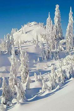 Snow covered alpine mountain
