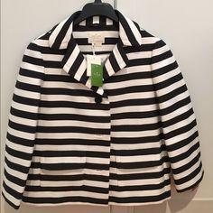 NWT Kate Spade jacket! NEw with tags! Kate Spade black and white striped jacket/ blazer size 8. kate spade Jackets & Coats