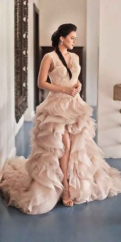 18 Colorful Wedding Dresses For Non-Traditional Bride ❤ See more: http://www.weddingforward.com/colourful-wedding-dresses/ #weddings #dress
