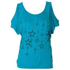 Stars ($9.99) ❤ liked on Polyvore featuring tops, t-shirts, shirts, blusas, cold shoulder shirts, blue tee, cutout shoulder top, blue top and cold shoulder t shirt