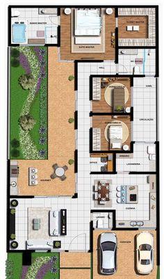 Modern home design – Home Decor Interior Designs Narrow House Plans, Family House Plans, Dream House Plans, Duplex House Design, Small House Design, Modern House Design, Home Modern, Home Design Floor Plans, Home Building Design