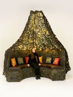 Event Prop Hire: Camo Draped Tree Seating Booth with Bohemian Sparkle Cushions (Lit)