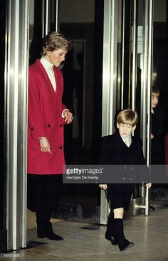 Diana, Princess of Wales, with her sons Prince Harry (L) and Prince William in 1988 ca. in London, England.