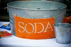 Rustic wedding. Soda in a tin tub.