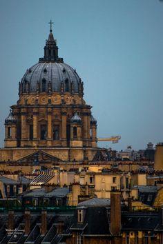 Les Invalides at sunrise 9.27.13, shot from a rooftop on Rue du Fer a Moulin, 5th arrondissement, Paris. Metro: Censier-...