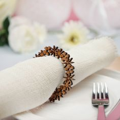 Floral Wooden Napkin Rings by Postbox Party, the perfect gift for Explore more unique gifts in our curated marketplace. Laser Cut Paper, Laser Cut Wood, Wood Cutting, Laser Cutting, Wood Laser Ideas, Wooden Napkin Rings, Lazer Cut, Napkin Holders, 3d Laser