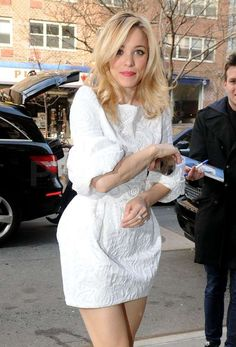 Rachel McAdams changed into a dress with dramatic sleeves.