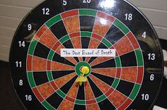 I can post a Halloween party in May, right? :) I did a fear factor game for a Halloween party. This was the Dart Board of Death :. Halloween Games For Kids, Halloween Party Decor, Holidays Halloween, Halloween Diy, Halloween 2018, Holloween Games, Halloween Eyeballs, Halloween Baking, Halloween Dinner