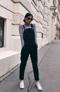 f9334d512ed 60 Cute Black Outfit for Women. Black Dungaree DressBlack Jumper  OutfitBlack Denim DungareesWomens ...