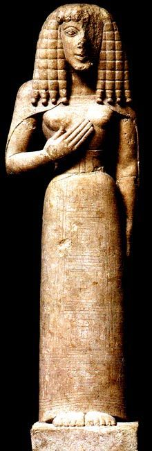 Lady of Auxerre, statue of goddess or kore, ca. 6650 все.