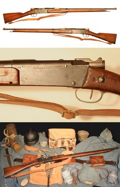 Model 1886 Lebel rifle displayed with original French uniform and equipment from the First World War.
